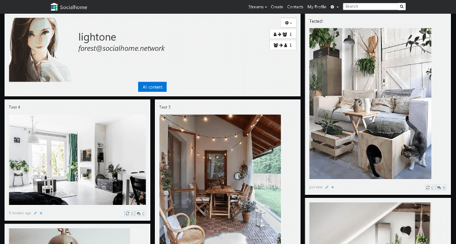 Socialhome grid layout